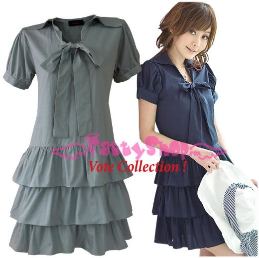 XXXL*GRAY*Dress ((VOTE Collection)) 3step drain+neck knot Cotton Com 2F 46 inch chest*FREE SHIP!!