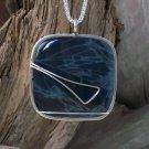 CAB104   Sterling Silver Pendant w/ Spiderweb Obsidian Stone