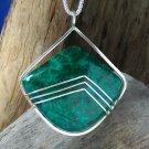CAB108   Sterling Silver Pendant w/ Chrysocolla Malachite Stone