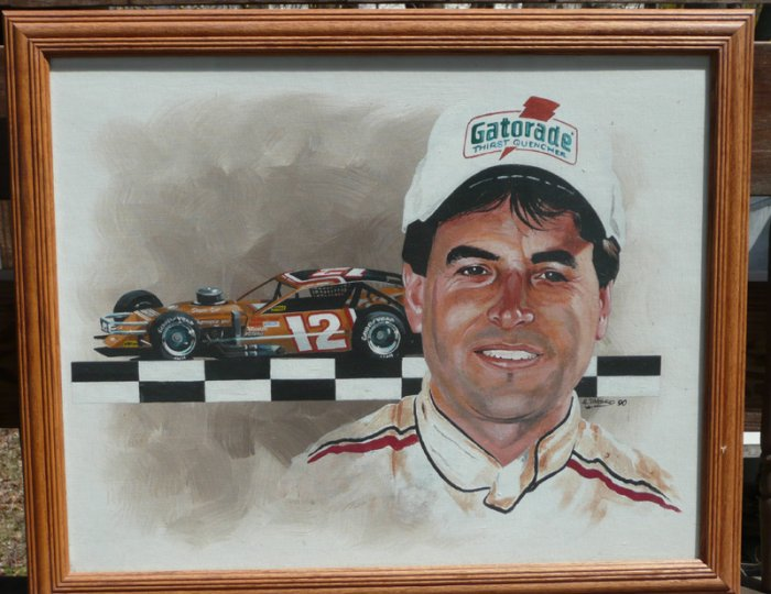 Mike McLaughlin #12 NASCAR Modfied Tour Oil Painting by Al DiMauro