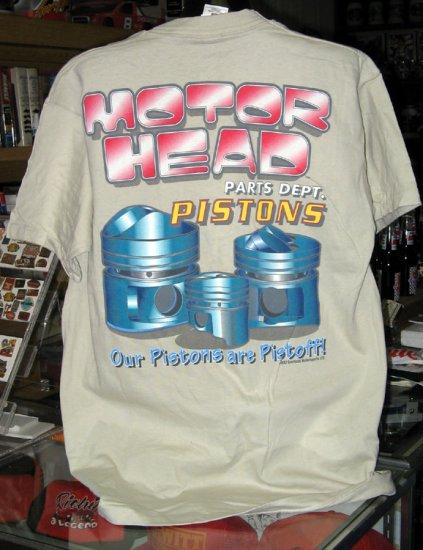 Motor Head Parts Dept. Pistons Tan XL Tshirt
