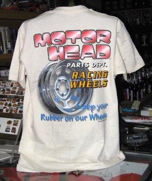 Motor Head Parts Dept RACING WHEELS  Large Tan Tshirt