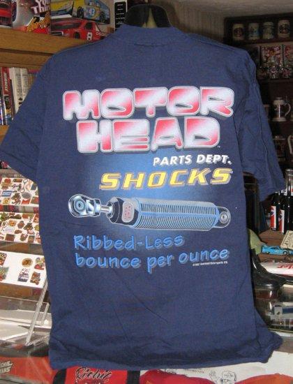 Motor Head Parts Dept SHOCKS Blue Large Tshirt