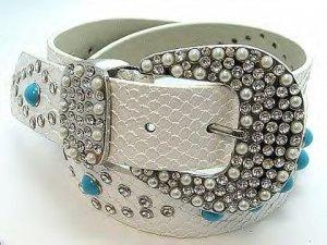 White Western Leather Turquoise Belt