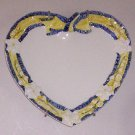 Lovely Italian Yellow Blue Ribbon Heart Plate