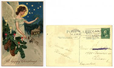 """Vintage Christmas Post Card """"A Happy Christmas"""" from 1911"""