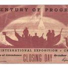 A Century Of Progress Closing Day Ticket 1934
