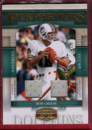 2007 Gridiron Gear Bob Griese Dual GU Jerseys 06/50