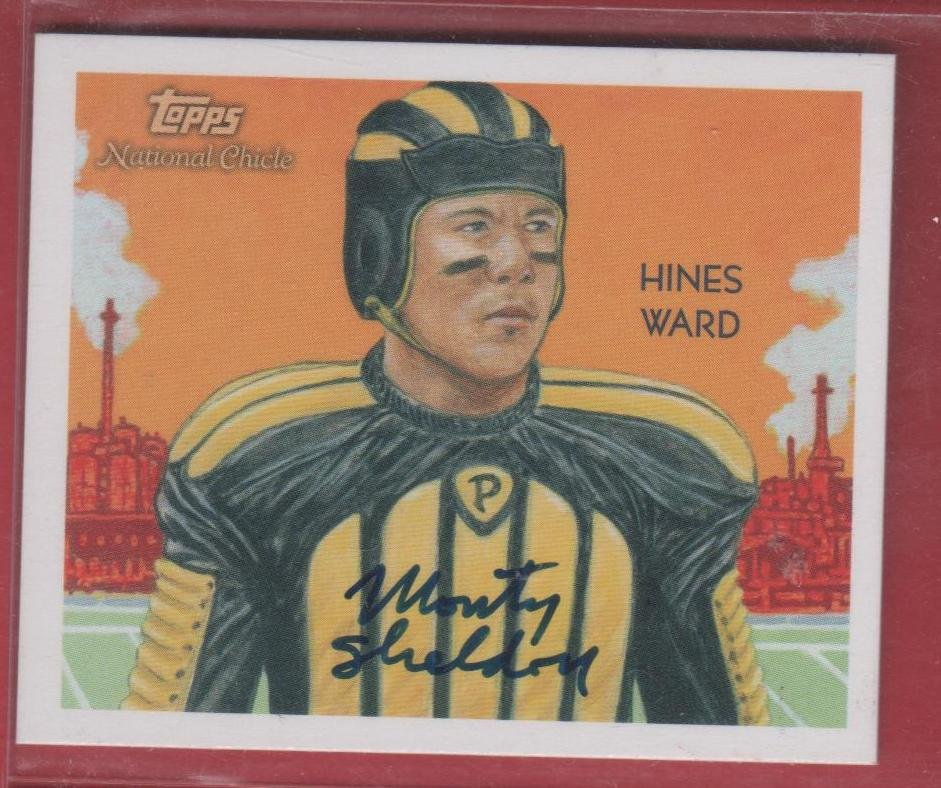 2009 National Chicle Hines Ward Mini Artist Proof (Monty Sheldon Autograph) 04/10