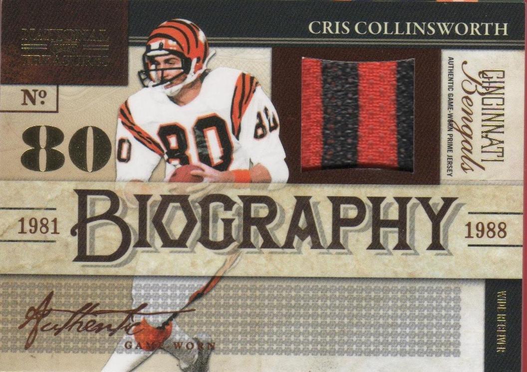 2009 National Treasures Cris Collinsworth 2 color Patch 02/25