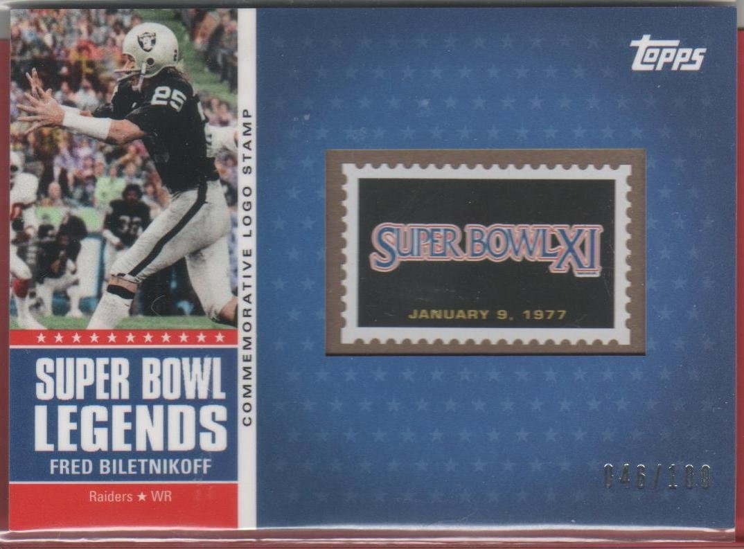 2011 Topps Super Bowl Legends Fred Biletnikoff Stamp 049/100
