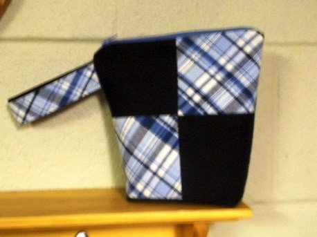 bloominwristlets blue plaid