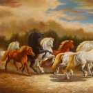 """New 24x36"""" Hand-Made Horses Oil Painting on Canvas"""