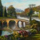 "24x36"" Bridge over the River Landscape Oil Painting on Canvas"
