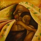 """New Hand-Made 20x24"""" 'Afircan Woman and Child' Oil Painting on Canvas"""