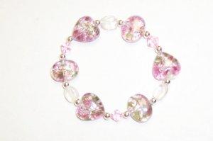 Pink Hearts glass stretch bracelet