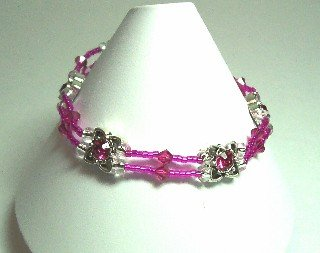 Fushia Crystal Stretch Bracelet