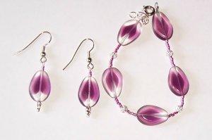 Purple Painted Glass Set