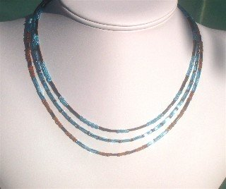 Brown and Turquoise 3-Strand Necklace