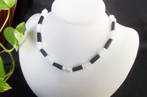 Black and White Puka Shell Necklace