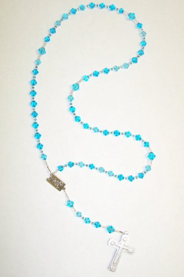 Turquoise Bicone Glass rosary