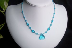 Turquoise Glass Necklace with Focal