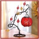 RED BEADED GLOBE TEALIGHT CANDLE HOLDER ON IRON STAND