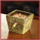 STONE-FINISH CANDLE POT BUTTERSCOTCH YELLOW CITRONELLA