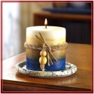 SCENTED EARTHTONE PILLAR CANDLE MATCHING DESIGNER TRAY
