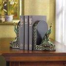 Elegant COLORFUL PEACOCK Book Ends
