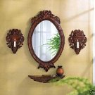 Stunning Carved Tuscan Wall Decor and Mirror Ensemble