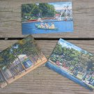 Set of 3 Vintage Linen Postcards