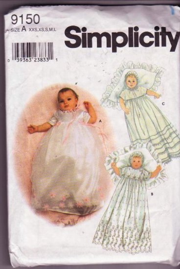 Simplicity Sewing Pattern 9150 Baby Christening Gown Slip Bonnet / Hat XXS to Large Uncut 2000