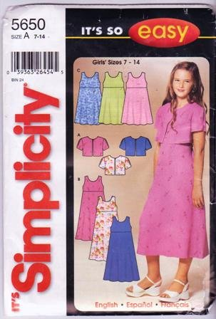 Simplicity 5650 Sewing Pattern Girls Jacket and Dress Jumper Size 7-14 Dated 2003