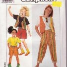 Simplicity Sewing Pattern 9676 Girls Pants or Shorts Vest and Knit Top Sizes 7to14 Uncut 1990