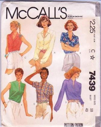 McCall�s Sewing Pattern 7439 Misses Shirts / Blouses Vintage 1981 Uncut Size 18 Bust 40