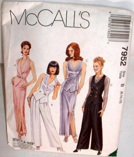McCall�s 7952 Evening Ensemble Elegant Vest Skirt Pants Sizes 8-10-12 Sewing Pattern 1995