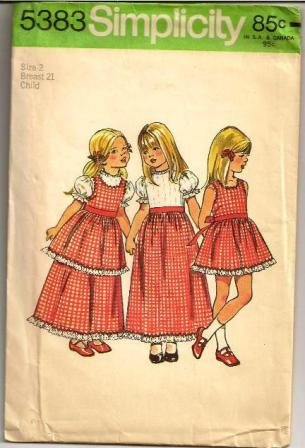 Simplicity Vintage Childs Dress & Pinafore 5383 Pattern Vintage 1972 Girl�s Size 2