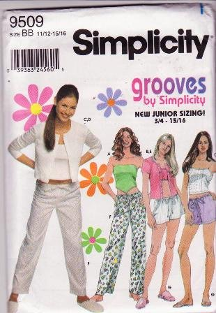 Simplicity Grooves 9509 Sewing Pattern Juniors Loungewear / Casual 3pc Set Sizes 11/12-15/16