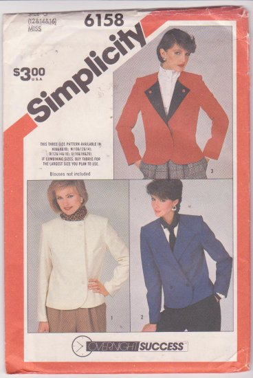 Simplicity Pattern 6158 Misses Unlined Jacket 1983 Uncut Sizes 12-16