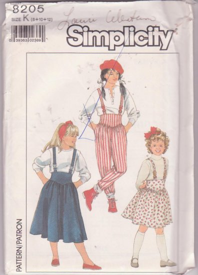 Simplicity Pattern 8205 Girls Suspender Skirt in Two Lengths & Pants 1987 Uncut Sizes 8-12