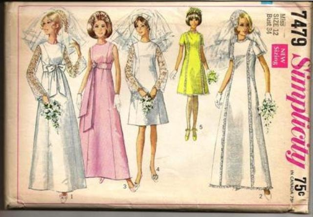 Simplicity Pattern 7449 Wedding Dress or Bridesmaid Dress in Two Lengths Misses Size 12 Vintage 1967
