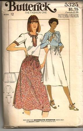 Butterick 5325 Sewing Pattern Misses Wrap Skirt w/ Top Size 12 Uncut
