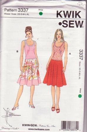 Kwik Sew 3337 Sewing Pattern Misses' Skirts & Tops Sizes: XS to XL by Kerstin Martensson Uncut