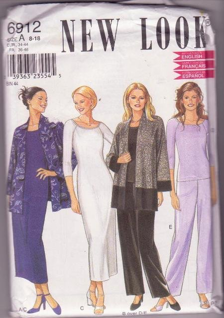 Women�s New Look Pattern 6912 Jacket Dress Pants Top 8-18 1990's