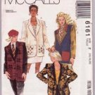 McCall's 6161 Misses' Unlined Jackets Pattern Sizes 16 to 20 Dated 1992 Uncut Extended Shoulders.