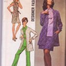 Simplicity 8870 Designer Fashion Blouse Mini-Skirt Pants Jacket Pattern Misses Size 14 ©1970