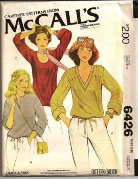 McCall�s Vintage Pattern 6426 Misses Retro Knit Tops Stretch Knits Only Neckline Variations 14-16