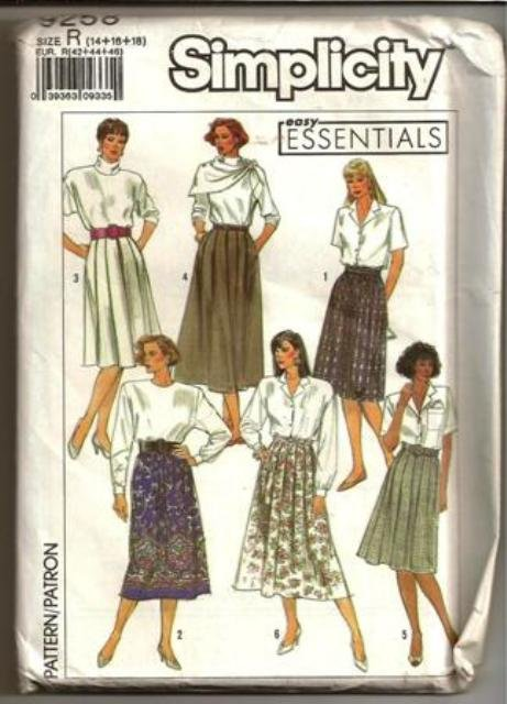 Simplicity Pattern 9258 Misses ©1989 Skirt in Two Lengths Size 14-18