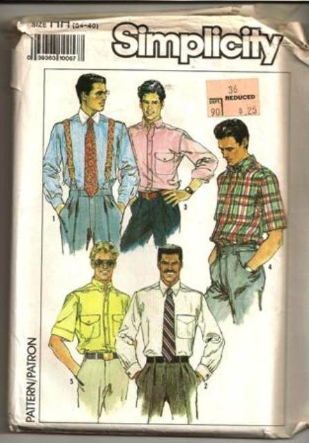 Simplicity Pattern 9592 Vintage Men�s Dress Casual Shirts Size 34-40 ©1989